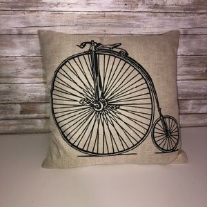 Old fashion bicycle throw pillow